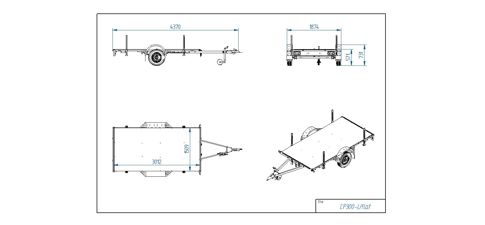 CP300-L/FLAT [Attēli ir informatīvi un piekabes komplektācijā var būt iekļauts papildu aprīkojums]