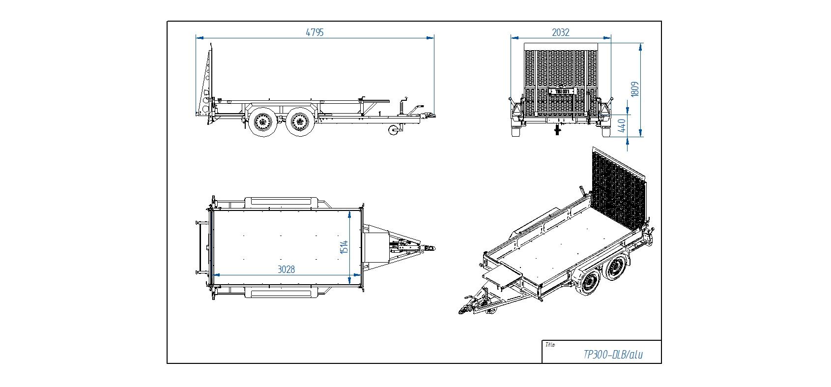 TP300-DLB/alu [Attēli ir informatīvi un piekabes komplektācijā var būt iekļauts papildu aprīkojums]