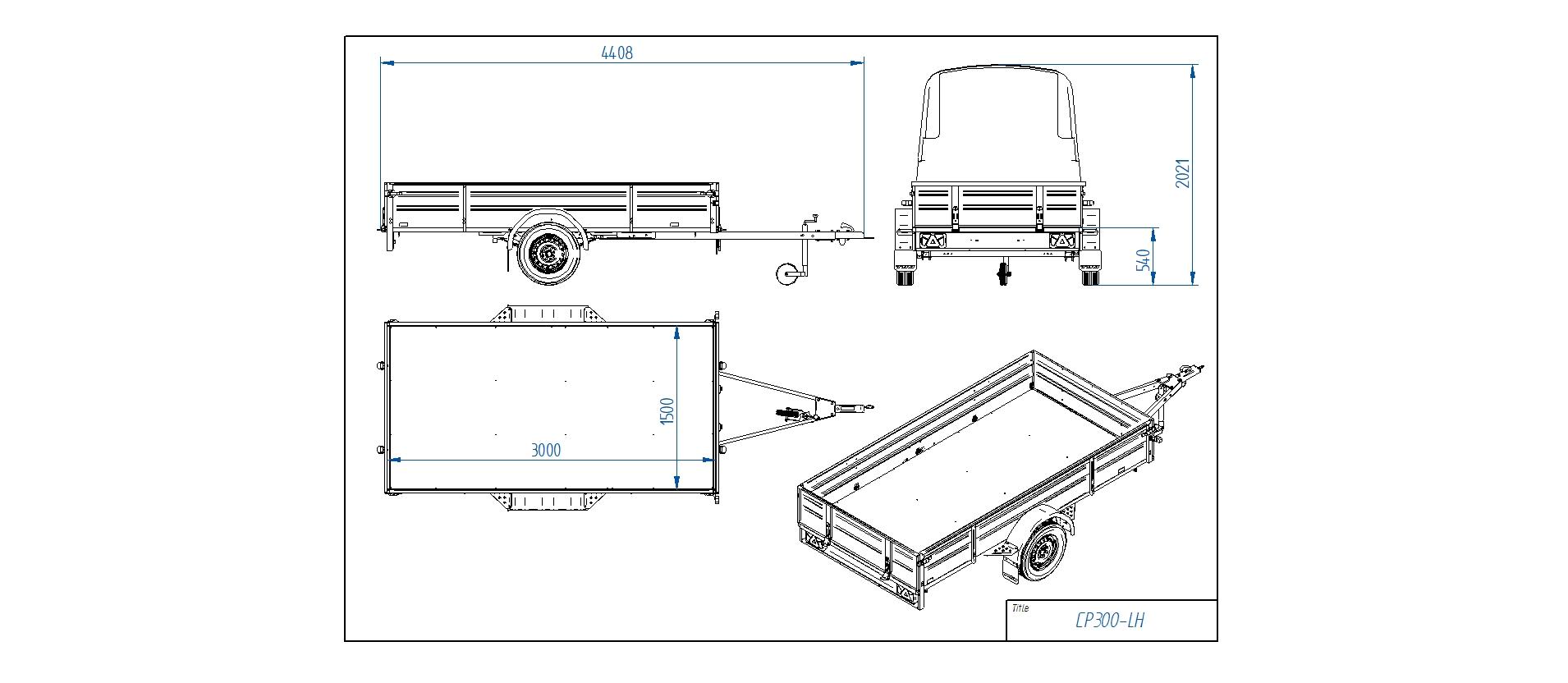 CP300-LH PRO  [Attēli ir informatīvi un piekabes komplektācijā var būt iekļauts papildu aprīkojums]