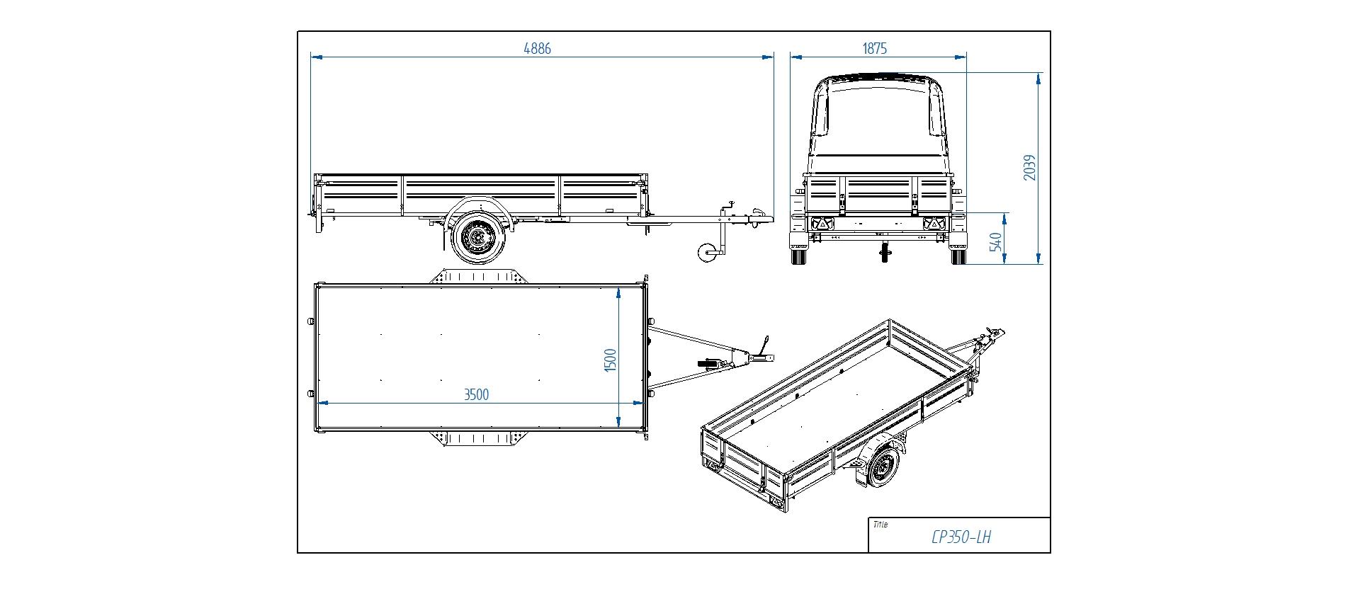 CP350-LH PRO  [Attēli ir informatīvi un piekabes komplektācijā var būt iekļauts papildu aprīkojums]
